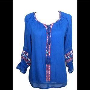 See And Be Seen Tunic Top Size S Blue Embroidered